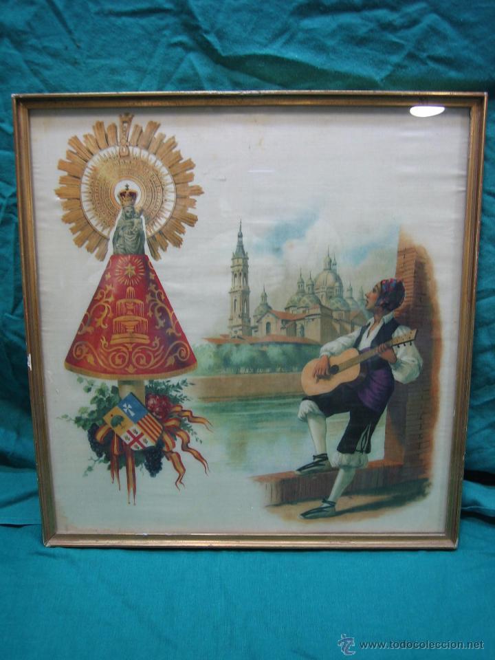 Arte: Pañoleta antigua pintada en seda de la Virgen del Pilar Zaragoza. M 38x39 cm - Foto 2 - 49714882