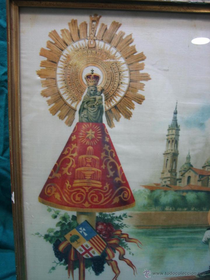 Arte: Pañoleta antigua pintada en seda de la Virgen del Pilar Zaragoza. M 38x39 cm - Foto 3 - 49714882