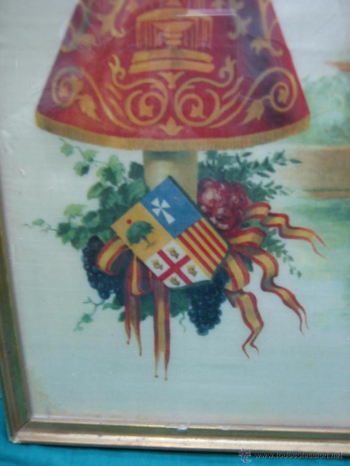 Arte: Pañoleta antigua pintada en seda de la Virgen del Pilar Zaragoza. M 38x39 cm - Foto 4 - 49714882
