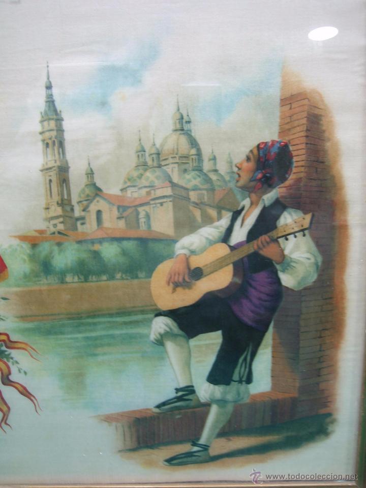 Arte: Pañoleta antigua pintada en seda de la Virgen del Pilar Zaragoza. M 38x39 cm - Foto 5 - 49714882