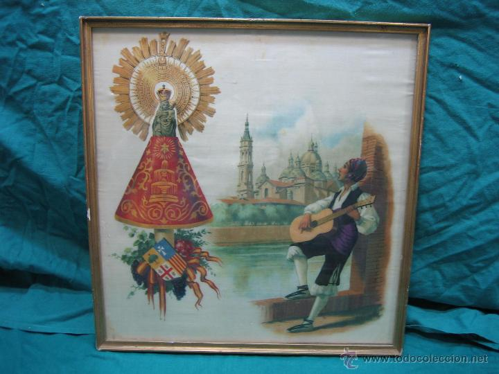 Arte: Pañoleta antigua pintada en seda de la Virgen del Pilar Zaragoza. M 38x39 cm - Foto 6 - 49714882