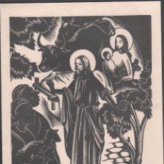 Arte: L28-5 XILOGRAFIA DE A. GELABERT EN FELICITACION CON POESÍA ORIGINAL DE ANTONI CLOSAS DEL AÑO 1971 -. Lote 50940153