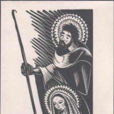 Arte: L28-5 XILOGRAFIA DE A. GELABERT EN FELICITACION CON POESÍA ORIGINAL DE ANTONI CLOSAS DEL AÑO 1973. Lote 50940175