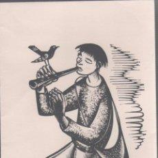 Arte: L28-5 XILOGRAFIA DE A. GELABERT EN FELICITACION CON POESÍA ORIGINAL DE ANTONI CLOSAS DEL AÑO 1974 -. Lote 50940197