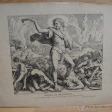 Arte: LAMINA RELIGIOSA - COMBATE CON LOS PHILISTEOS. Lote 50967048