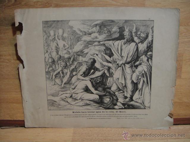 LAMINA RELIGIOSA - MOISES HACE BROTAR AGUA DE LA ROCA , EL MANA (Arte - Xilografía)