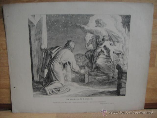 LAMINA RELIGIOSA XILOGRAFIA - LA PROMESA DE ABRAHAM (Arte - Xilografía)