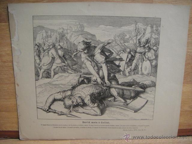 LAMINA RELIGIOSA XILOGRAFIA -DAVID MATA A GOLIAT (Arte - Xilografía)