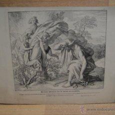 Arte: LAMINA RELIGIOSA XILOGRAFIA - MOISES DELANTE DE LA ZARZA ENCENDIDA. Lote 50971613