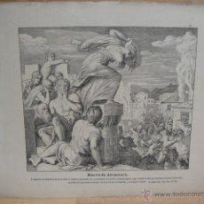 Arte: LAMINA RELIGIOSA XILOGRAFIA - MUERTE DE ABIMELECH. Lote 50971647