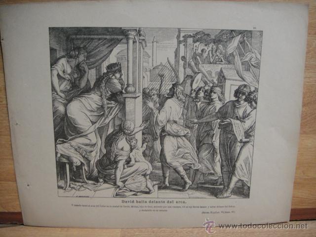 LAMINA RELIGIOSA XILOGRAFIA - DAVID BAILA DELANTE DEL ARCA (Arte - Xilografía)