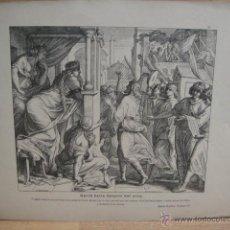 Arte: LAMINA RELIGIOSA XILOGRAFIA - DAVID BAILA DELANTE DEL ARCA. Lote 50971699