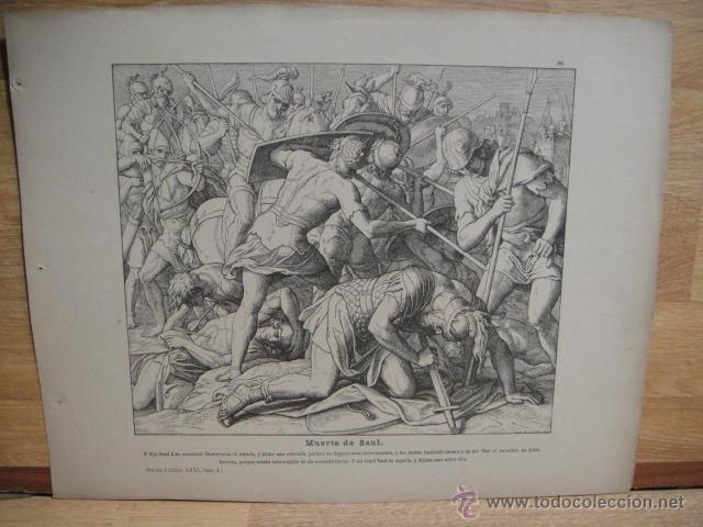LAMINA RELIGIOSA XILOGRAFIA - MUERTE DE SAUL (Arte - Xilografía)