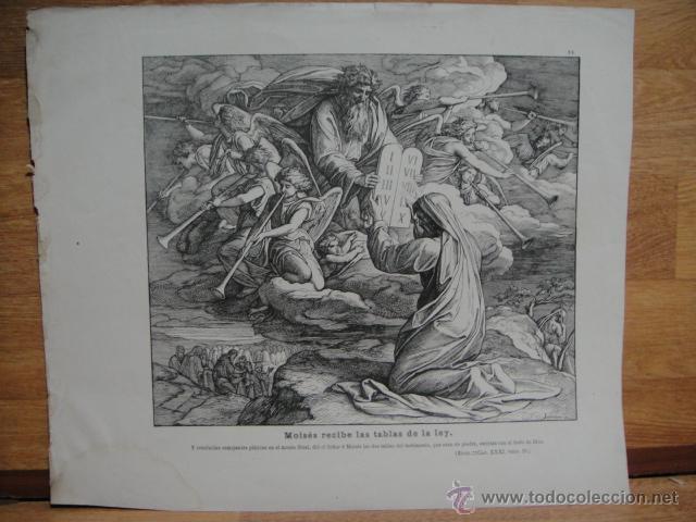 XILOGRAFIA RELIGIOSA - MOISES RECIBE LAS TABLAS DE LA LEY (Arte - Xilografía)