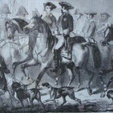 Arte: PARTIDA DE CAZA EN FONTAINEBLEU AÑO 1853. Lote 51260962