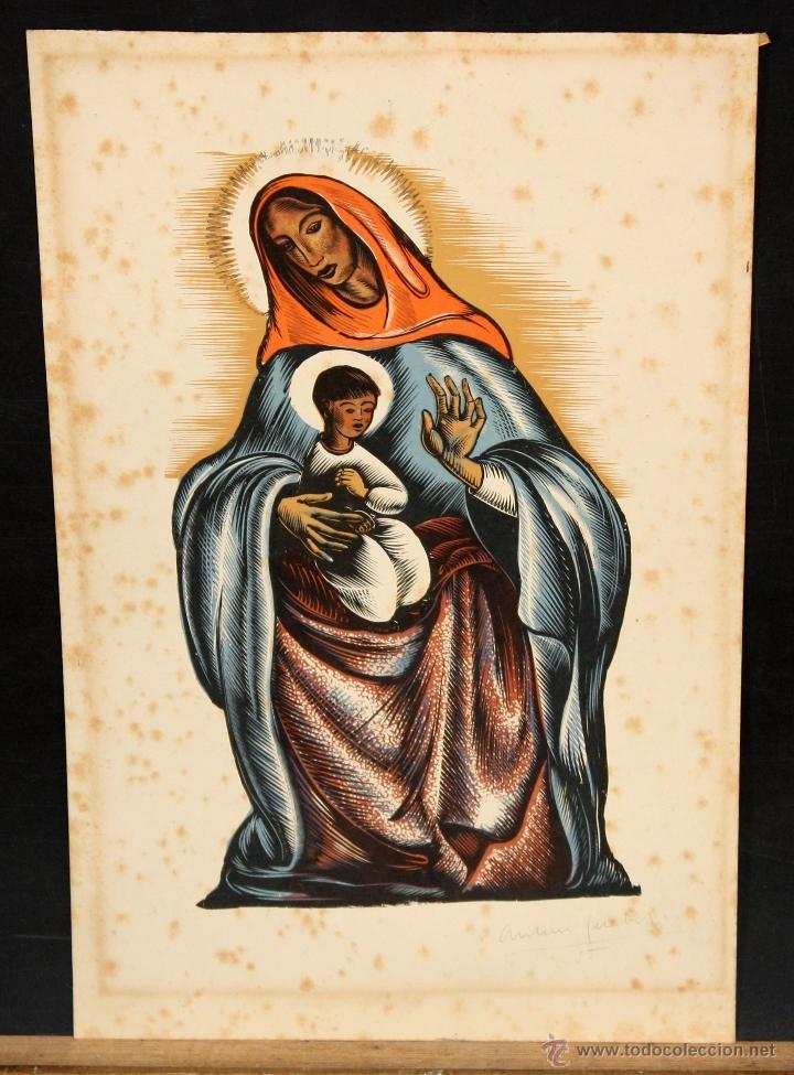XILOGRAFIA DE ANTONI GELABERT DE LOS AÑOS 40. VIRGEN CON NIÑO (Arte - Xilografía)