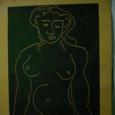 Arte: XILOGRAFIA DE JOAN BENNASSAR 110X75 CM, COPIA 14 DE 50. FIGURA DE MUJER CON EL TORSO DESNUDO. Lote 54937965