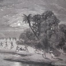Arte: CAZA ANTROPOFAGOS CACHIBOS ECUADOR AÑO 1865. Lote 56145660