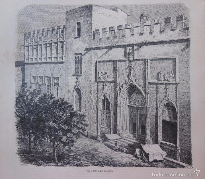 ANTIGUA XILOGRAFÍA : CASA LONJA EN VALENCIA. 1859 (Arte - Xilografía)
