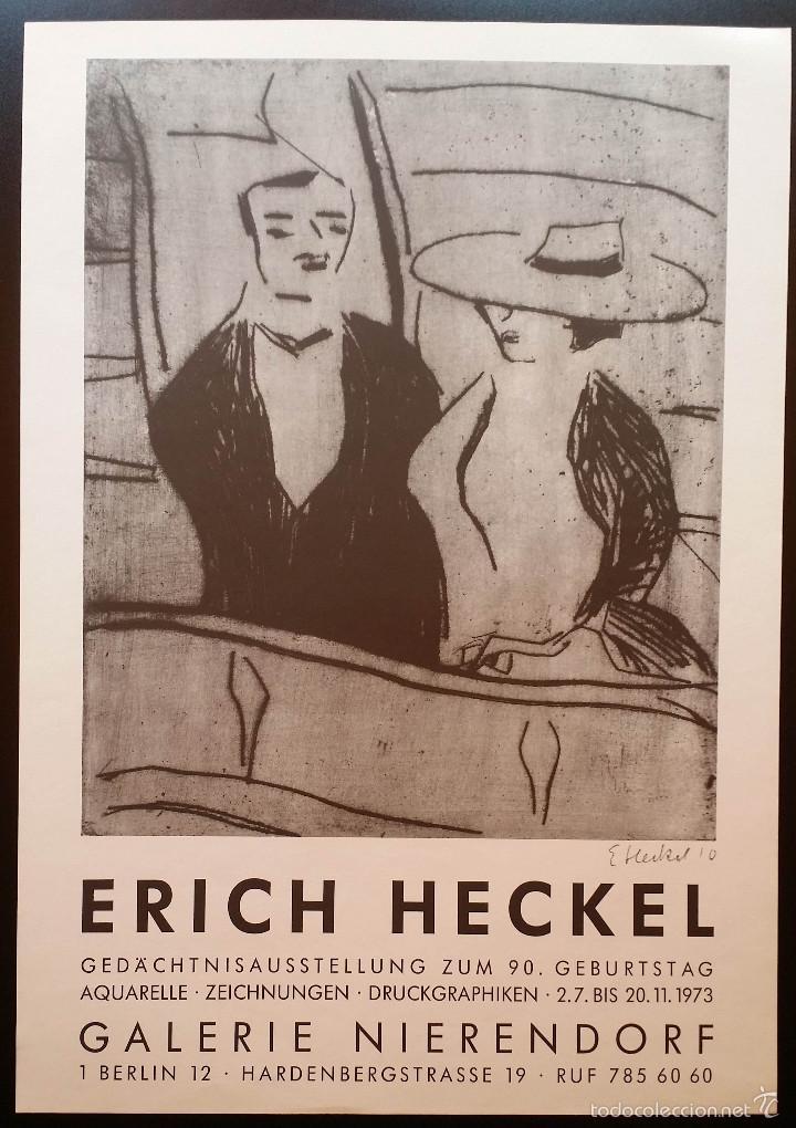 ERICH HECKEL: CARTEL XILOGRAFICO FIRMADO EN PLANCHA / GALERIA NIERENDORF / 1973 (Arte - Xilografía)
