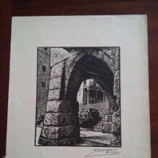 Arte: XILOGRAFIA ORIGINAL FIRMADA DE J. CASTELLS MARTI - VER FOTO ESCALERAS Y FUENTE CATEDRAL TARRAGONA. Lote 58302164