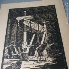 Arte: MONJES EN EL LAGAR - XILOGRAFIA DE JACQUES SOLLIER - (MENU DE CONFRERIE DES CHEVALIERS DU TASTEVIN). Lote 59759572