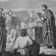 Arte: LOS CORINTINOS RECIBEN AL APOSTOL SAN PABLO .ESCENA DE LA BIBLIA NUEVO TESTAMENTO.AÑO 1854. Lote 67245505