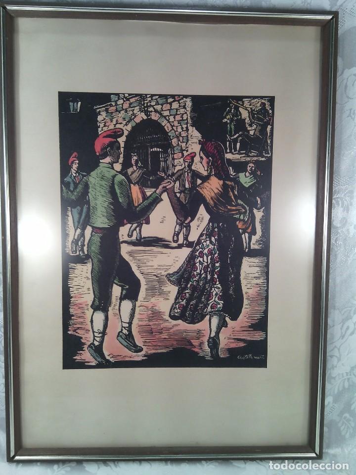 JOAN CASTELLS MARTÍ (1906-?). LA SARDANA, XILOGRAFÍA COLOREADA A MANO. FIRMADA. ENMARCADA. AÑOS 50. (Arte - Xilografía)