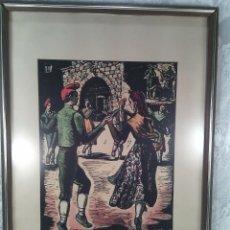 Arte: JOAN CASTELLS MARTÍ (1906-?). LA SARDANA, XILOGRAFÍA COLOREADA A MANO. FIRMADA. ENMARCADA. AÑOS 50.. Lote 87060668