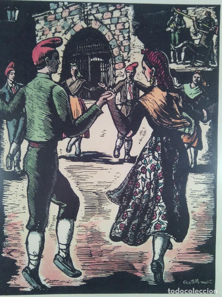Arte: JOAN CASTELLS MARTÍ (1906-?). LA SARDANA, XILOGRAFÍA COLOREADA A MANO. FIRMADA. ENMARCADA. AÑOS 50. - Foto 2 - 87060668