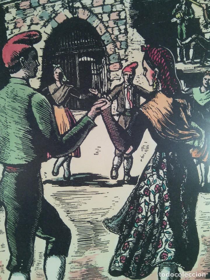 Arte: JOAN CASTELLS MARTÍ (1906-?). LA SARDANA, XILOGRAFÍA COLOREADA A MANO. FIRMADA. ENMARCADA. AÑOS 50. - Foto 3 - 87060668