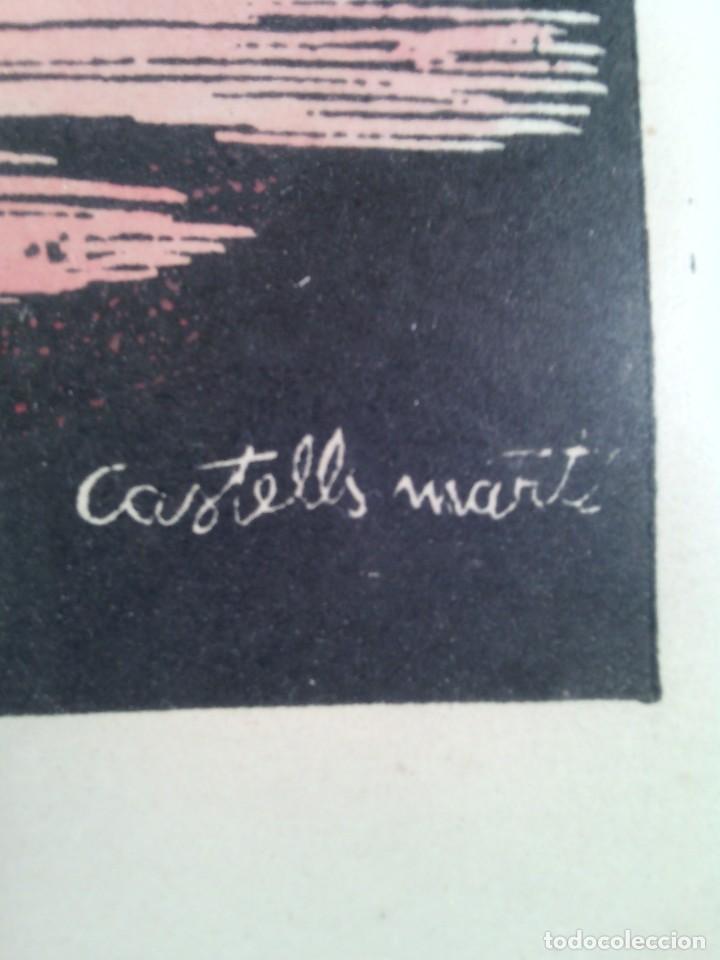 Arte: JOAN CASTELLS MARTÍ (1906-?). LA SARDANA, XILOGRAFÍA COLOREADA A MANO. FIRMADA. ENMARCADA. AÑOS 50. - Foto 4 - 87060668