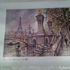 Arte: FONT ALEXANDRE III ET TOUR EIFFEL. PARIS. XILOGRAFÍA A COLOR DE EDITIONS CRÉATIONS ISAAC.. Lote 87066748
