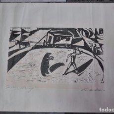 Arte: WILLI KRUSE , WOODCUT , GRABADO A LA MADERA , FIRMADO Y TITULADO , . Lote 87422156