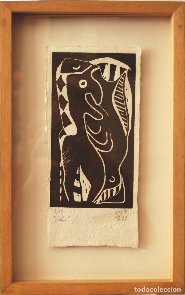 """BRIGITTE MEYER.- """"EDÉN"""" (XILOGRAFÍA ENMARCADA) (VER FOTOS ADICIONALES) (Arte - Xilografía)"""