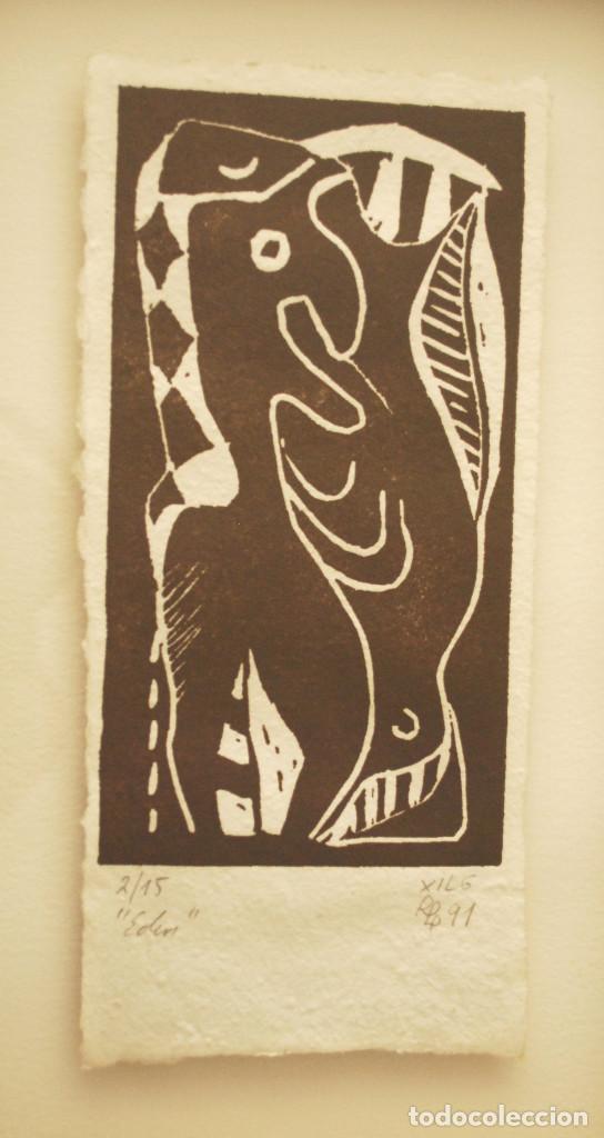 """Arte: Brigitte Meyer.- """"Edén"""" (xilografía enmarcada) (ver fotos adicionales) - Foto 2 - 97683031"""