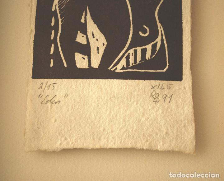 """Arte: Brigitte Meyer.- """"Edén"""" (xilografía enmarcada) (ver fotos adicionales) - Foto 3 - 97683031"""