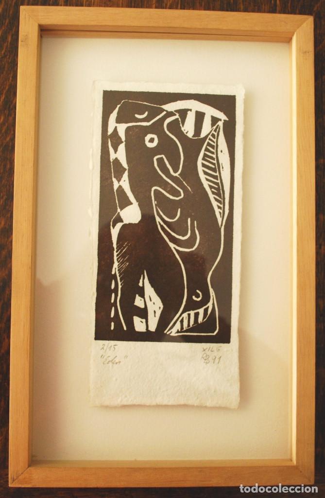 """Arte: Brigitte Meyer.- """"Edén"""" (xilografía enmarcada) (ver fotos adicionales) - Foto 4 - 97683031"""