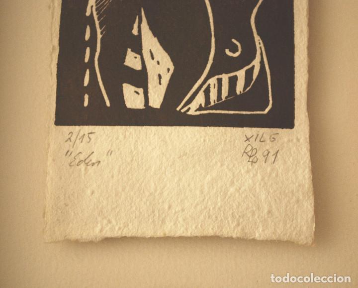 """Arte: Brigitte Meyer.- """"Edén"""" (xilografía enmarcada) (ver fotos adicionales) - Foto 5 - 97683031"""