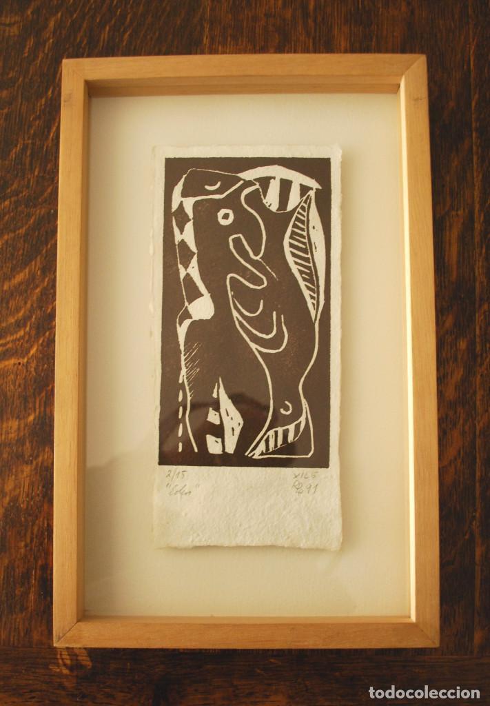 """Arte: Brigitte Meyer.- """"Edén"""" (xilografía enmarcada) (ver fotos adicionales) - Foto 6 - 97683031"""
