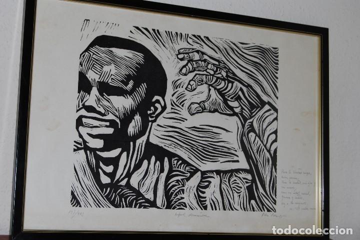 ORIGINAL XILOGRAFÍA DE MIGUEL HERNÁNDEZ POR JUAN MANUEL FERNÁNDEZ PERA - GENERACIÓN DEL 27 - 1975 (Arte - Xilografía)