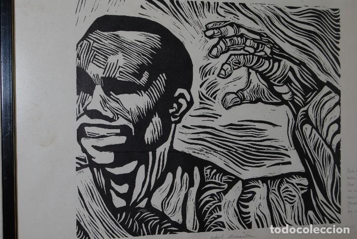 Arte: ORIGINAL XILOGRAFÍA DE MIGUEL HERNÁNDEZ POR JUAN MANUEL FERNÁNDEZ PERA - GENERACIÓN DEL 27 - 1975 - Foto 3 - 102806275