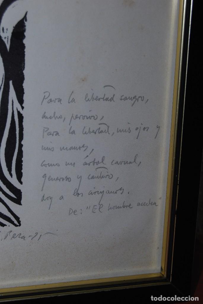 Arte: ORIGINAL XILOGRAFÍA DE MIGUEL HERNÁNDEZ POR JUAN MANUEL FERNÁNDEZ PERA - GENERACIÓN DEL 27 - 1975 - Foto 10 - 102806275