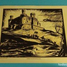 Arte: CASTILLO DE MANZANARES EL REAL. XILOGRAFÍA DE LOYGORRI PARA LABORATORIO MEDIX. 27,5 X 21,5 CM. Lote 103627999