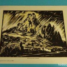Arte: CASTILLO DE SAX ( ALICANTE). XILOGRAFÍA DE LOYGORRI PARA LABORATORIO MEDIX. 27,5 X 21,5 CM. Lote 103628119