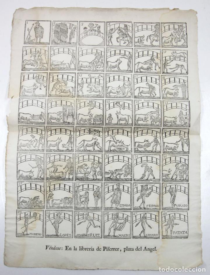 ALELUYA DE OFICIOS, TOREO - TOROS. CORRIDA HECHA PARA LA VISITA DEL REY CARLOS IV A BARCELONA, 1802. (Arte - Xilografía)