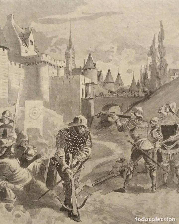 BORDIER, XILOGRAFÍA DE NORMANDOS EN EL CAMPO DE BATALLA. SIGLO 19 (Arte - Xilografía)
