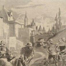 Arte: BORDIER, XILOGRAFÍA DE NORMANDOS EN EL CAMPO DE BATALLA. SIGLO 19. Lote 111387775