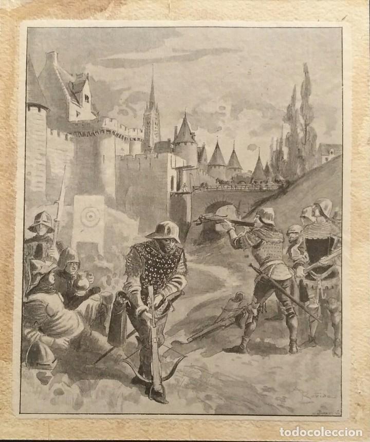 Arte: Bordier, Xilografía de Normandos en el campo de batalla. Siglo 19 - Foto 2 - 111387775