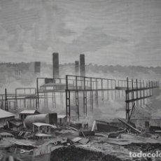 Arte: INCENDIO ASTILLEROS DE NERVION BILBAO .AÑO 1891. Lote 111962027